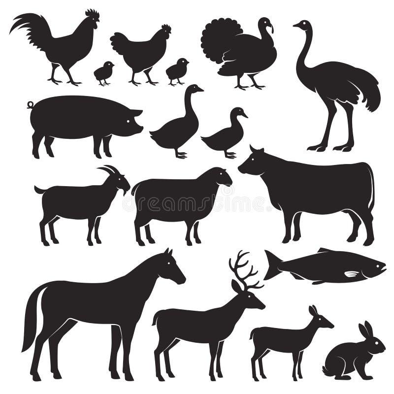 Ícones da silhueta dos animais de exploração agrícola ilustração royalty free