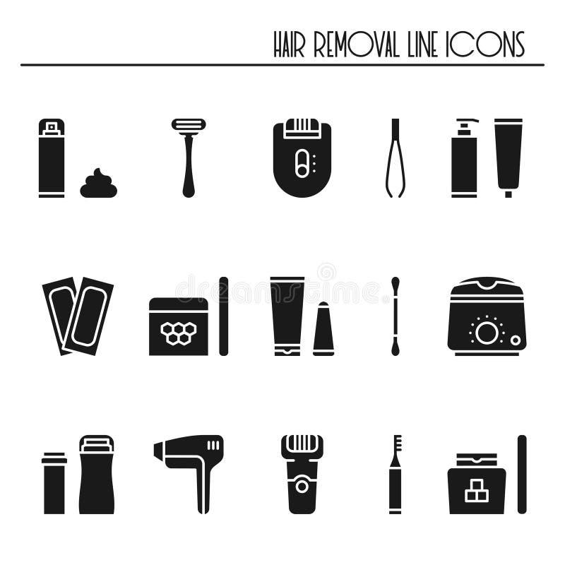 Ícones da silhueta dos métodos da remoção do cabelo ajustados Rapagem adoçando o laser que encera arrancar da depilação do epilat ilustração stock