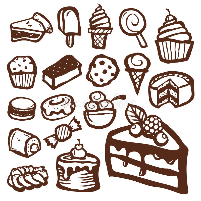 Ícones da sobremesa e do cozimento ilustração do vetor