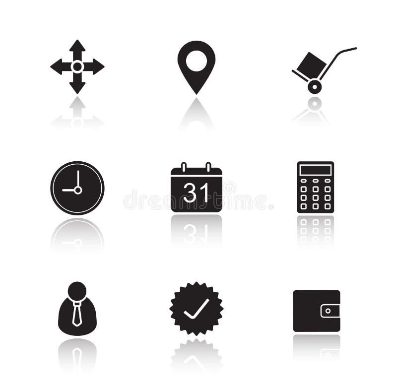 Ícones da sombra da gota do serviço de entrega ajustados ilustração stock