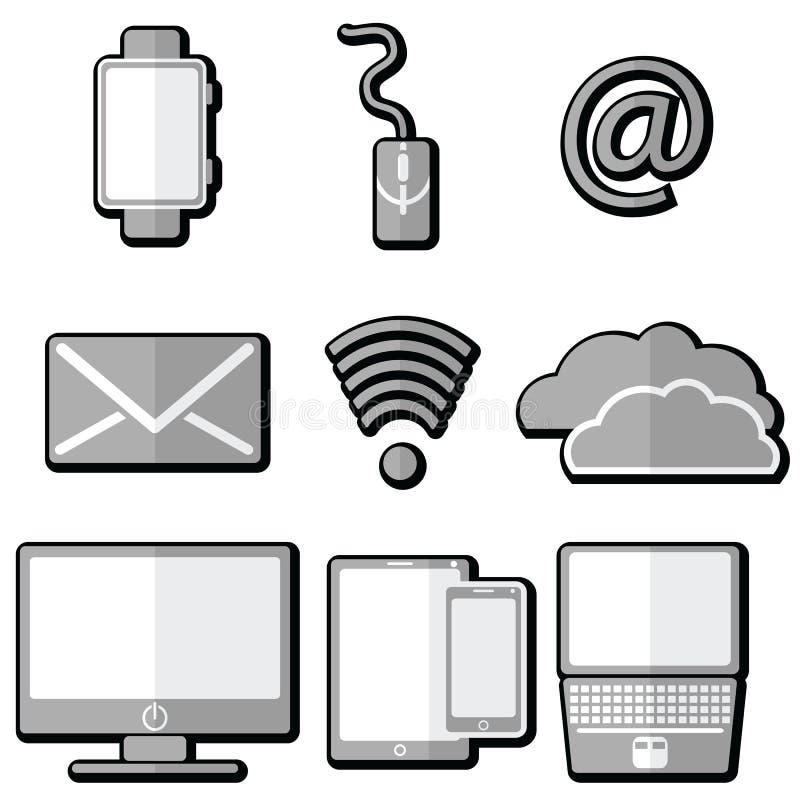 Ícones da tecnologia com tabuleta, telefone celular, relógio esperto, ampersand, portátil, correio eletrônico, armazenamento da n ilustração stock