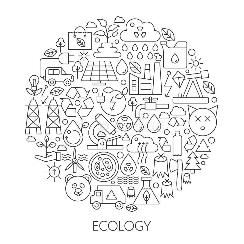 Ícones da tecnologia da ecologia no círculo - linha ilustração infographic do conceito do vetor para a tampa, emblema, crachá Íco ilustração do vetor