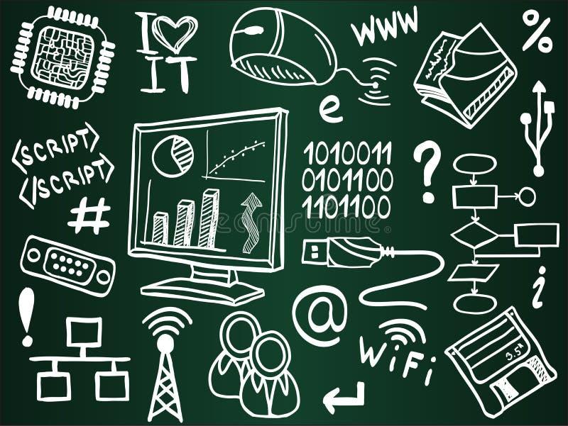 Ícones da tecnologia da informação na placa de escola ilustração do vetor