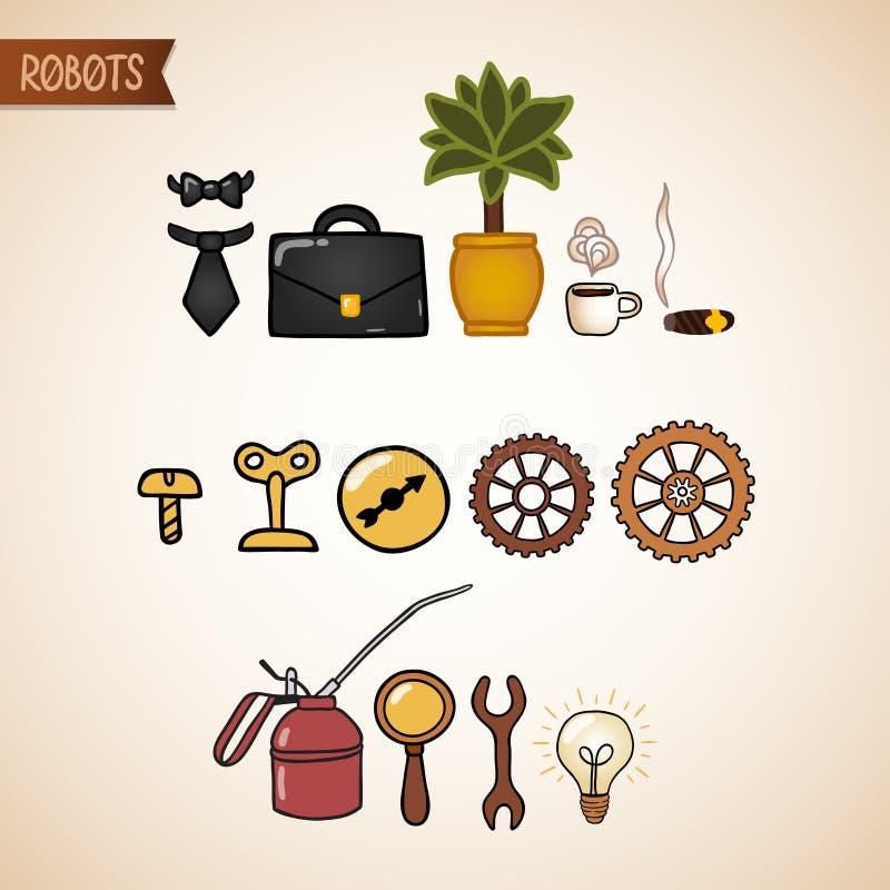 Ícones da tecnologia de Steampunk ajustados ilustração do vetor