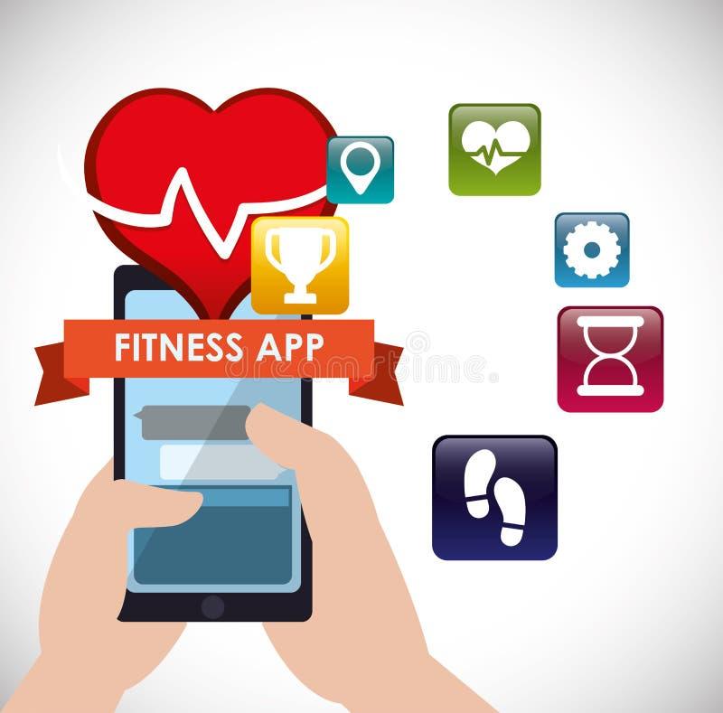 Ícones da tecnologia do app da aptidão ilustração royalty free