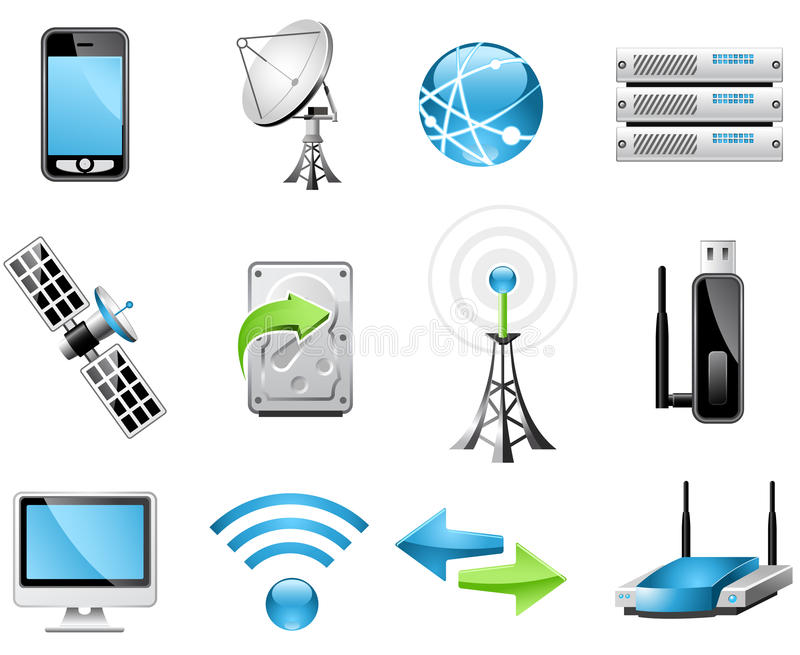 Ícones da tecnologia sem fios ilustração do vetor