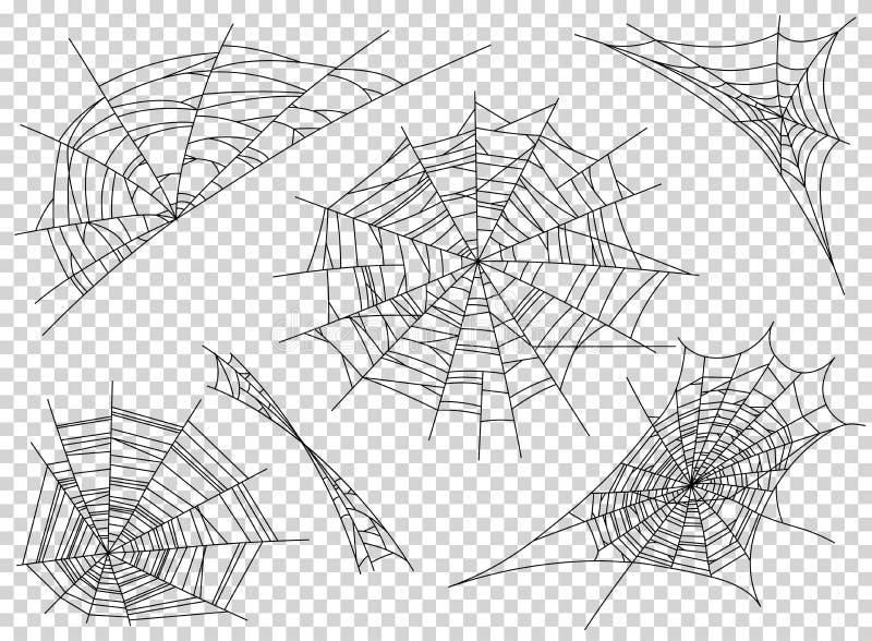 Ícones da teia de aranha do Web spider ajustados Esboce a ilustração de ícones do vetor da teia de aranha do Web spider para a We ilustração do vetor