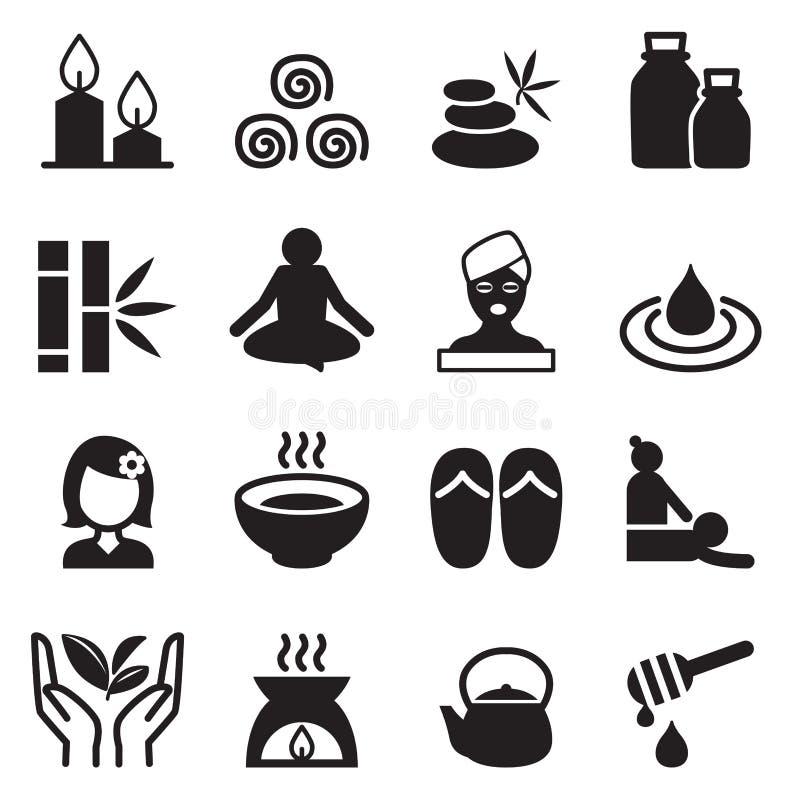 Ícones da terapia dos termas & da alternativa ajustados ilustração royalty free