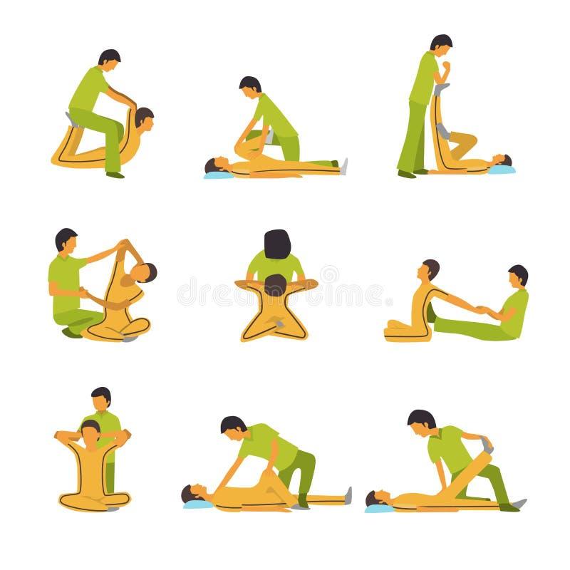 Ícones da terapia dos termas da massagem ilustração royalty free