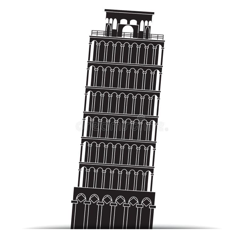 Ícones da torre de Pisa, símbolo ilustração royalty free