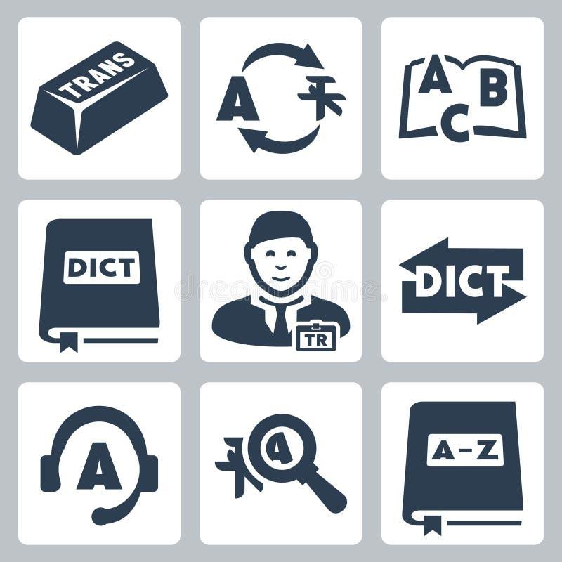 Ícones da tradução e do dicionário do vetor ajustados ilustração stock