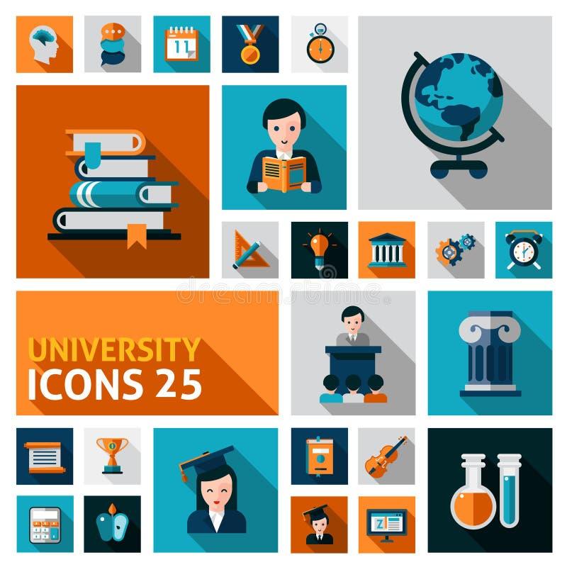 Ícones da universidade ajustados ilustração stock