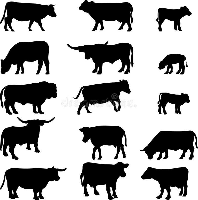 Ícones da vaca ilustração do vetor