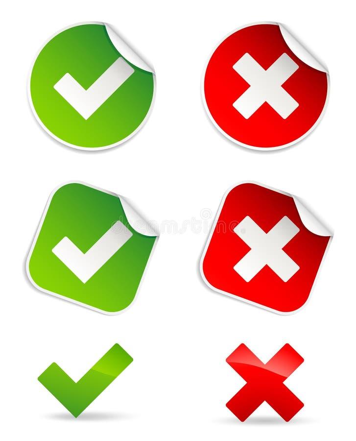 Ícones da validação ilustração do vetor