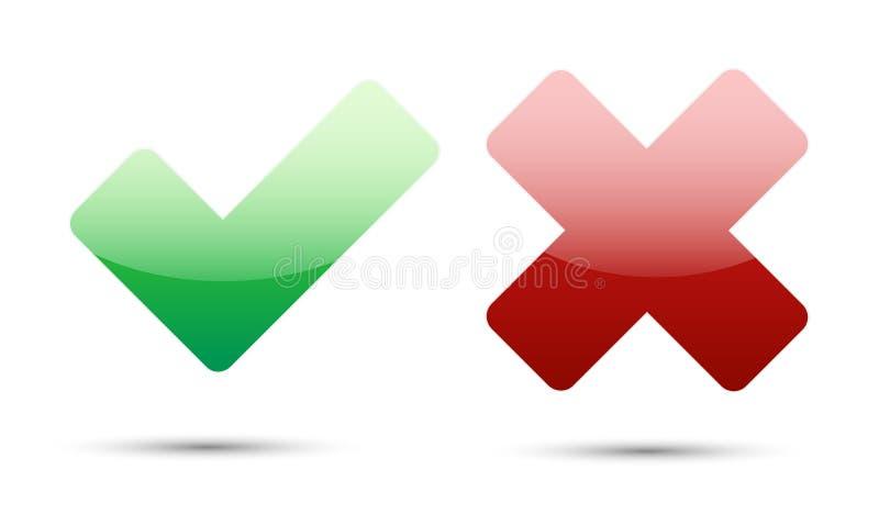 Ícones da validação com sombra do cinza da gota ilustração stock