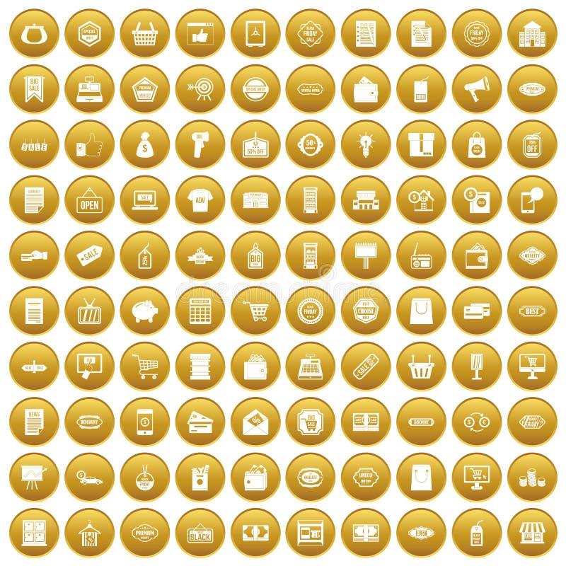 100 ícones da venda ajustaram o ouro ilustração stock