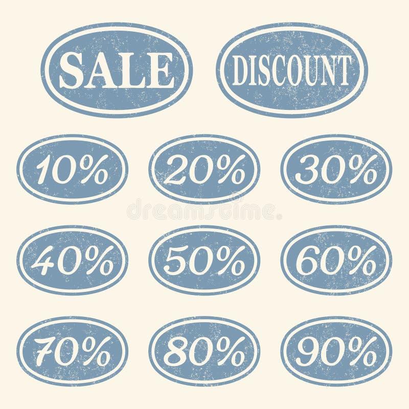 Ícones da venda do vintage ajustados ilustração stock