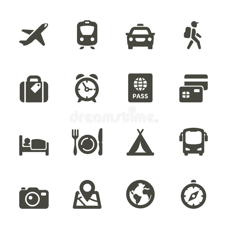 Ícones da viagem e do transporte.