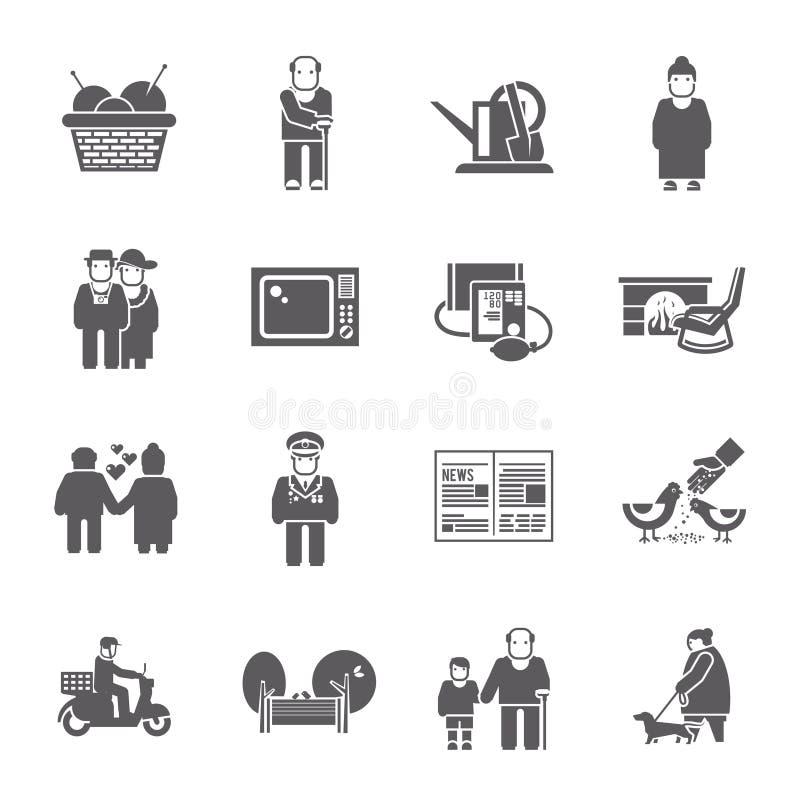 Ícones da vida dos pensionista ajustados ilustração royalty free