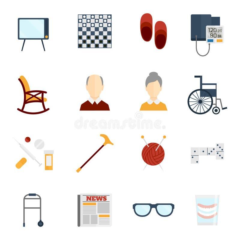 Ícones da vida dos pensionista lisos ilustração stock