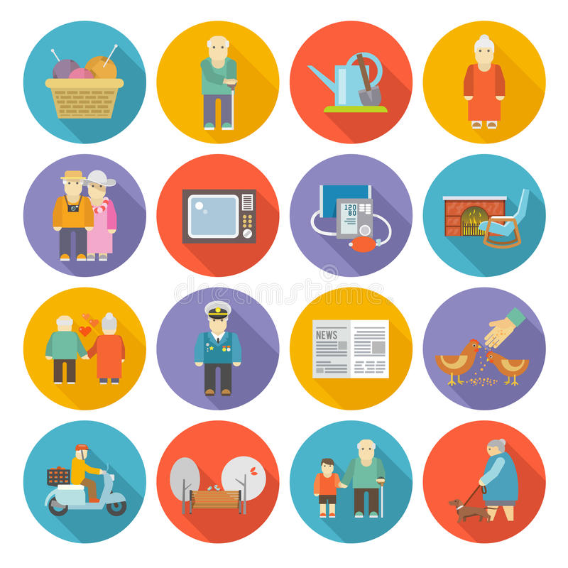 Ícones da vida dos pensionista lisos ilustração do vetor