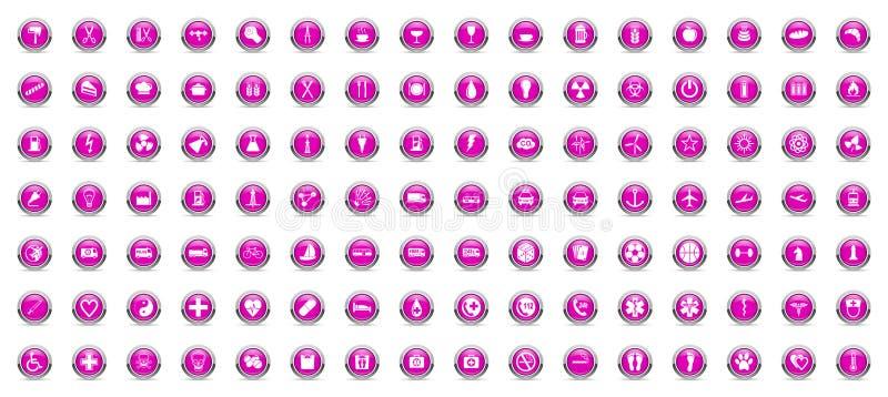 Ícones da violeta do Internet do negócio e da tecnologia ilustração do vetor