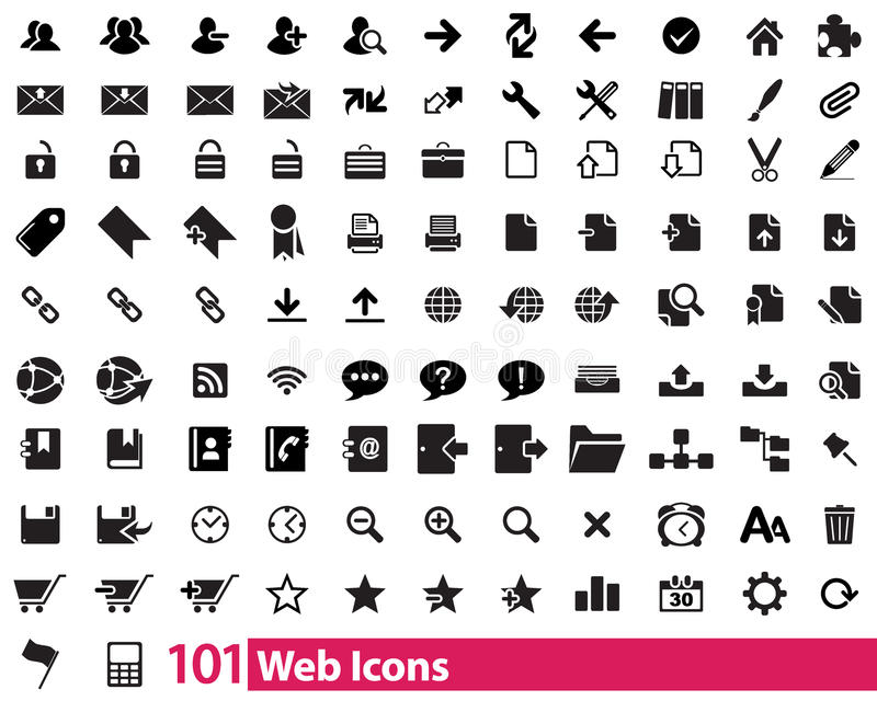 101 ícones da Web ilustração do vetor