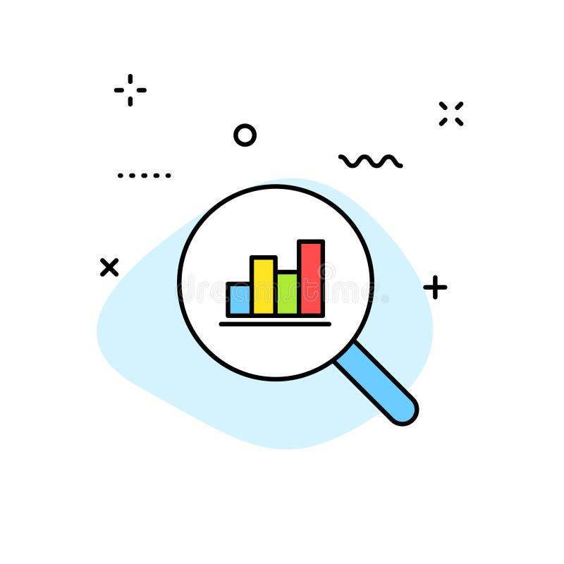 Ícones da Web da análise de dados na linha estilo Gráficos, análise, Big Data, crescimento, carta, pesquisa Ilustração do vetor ilustração do vetor