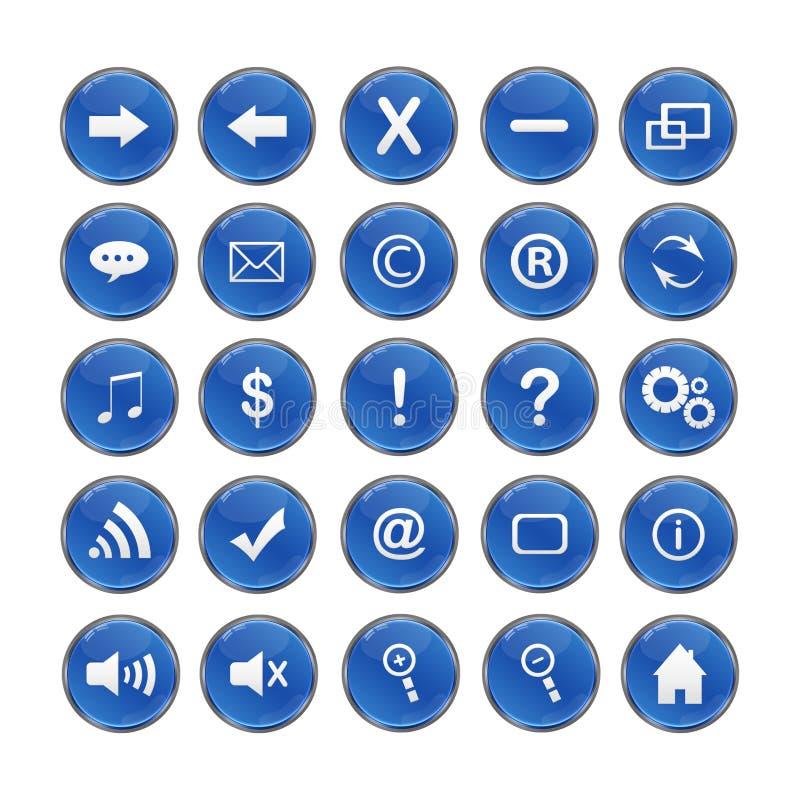 Ícones da Web, azul, DropShadows ilustração do vetor