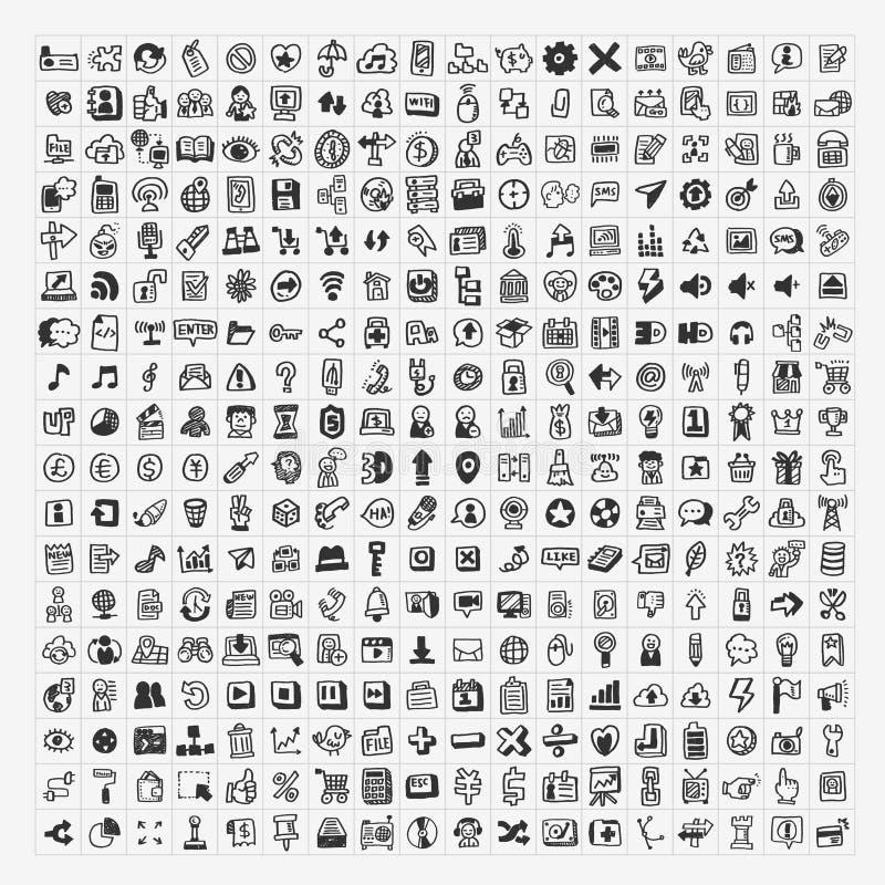 324 ícones da Web da garatuja do vetor ilustração do vetor