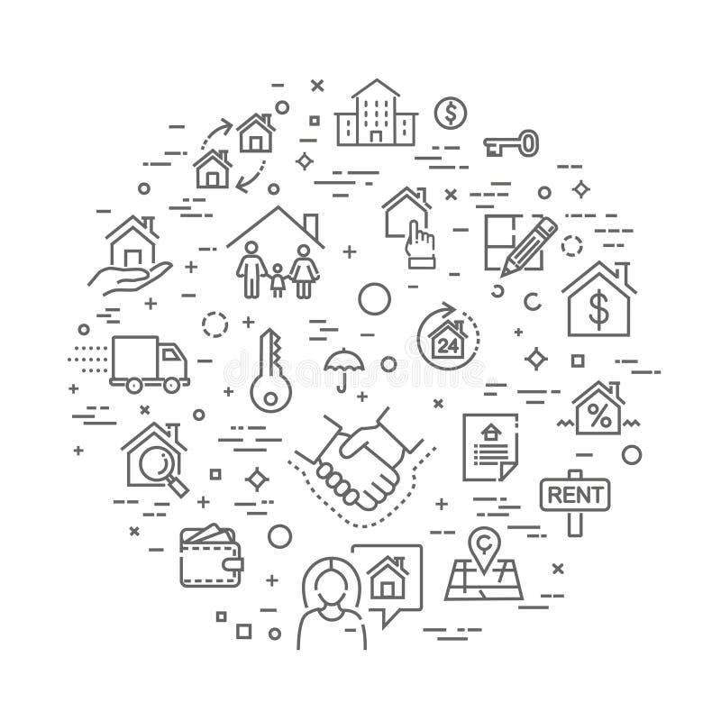 Ícones da Web do esboço ajustados - Real Estate ilustração do vetor