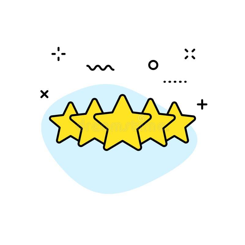 Ícones da Web do feedback e da revisão na linha estilo Avaliação da estrela, símbolos da emoção Ilustração do vetor ilustração royalty free