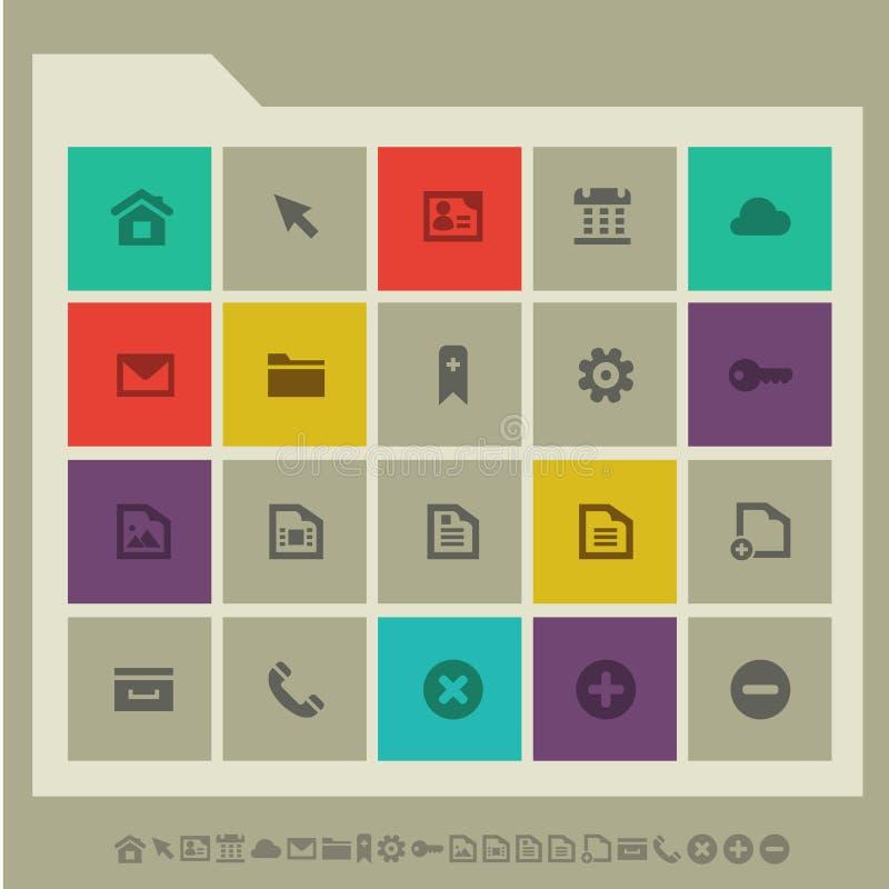 Ícones da Web, grupo 1 Botões lisos quadrados coloridos ilustração do vetor