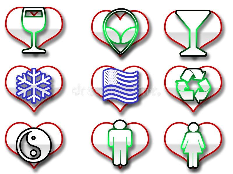 Ícones dados forma coração do Web ilustração royalty free