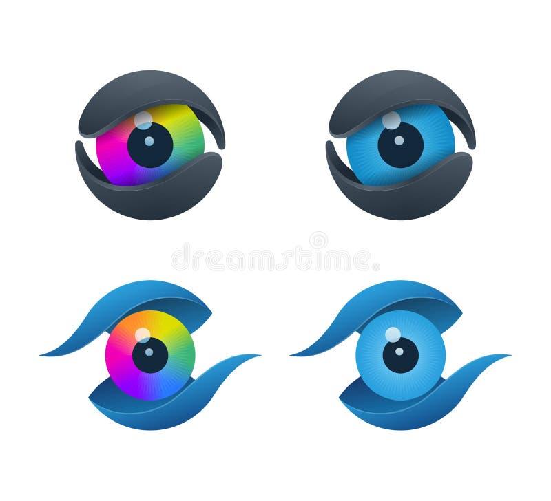 Ícones dados forma núcleo do olho ilustração stock