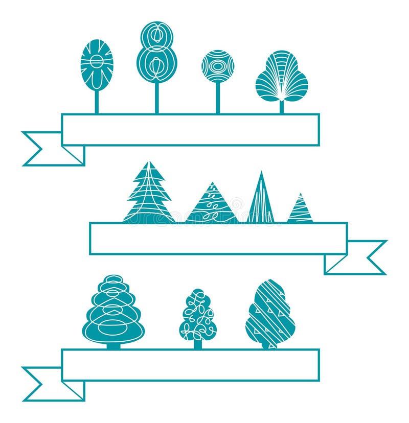 Ícones das árvores ilustração royalty free