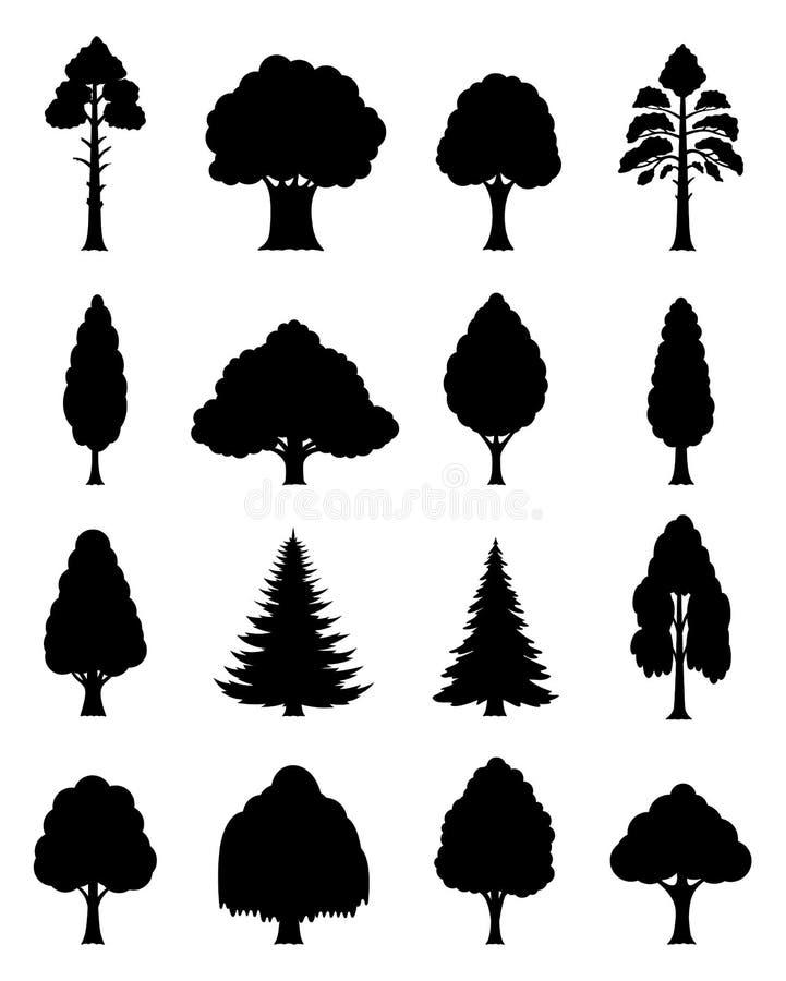Ícones das árvores do vetor ilustração royalty free