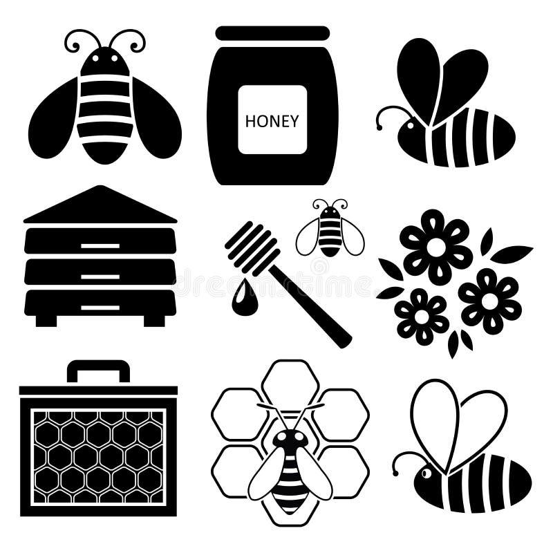 ícones das abelhas e do mel ilustração do vetor