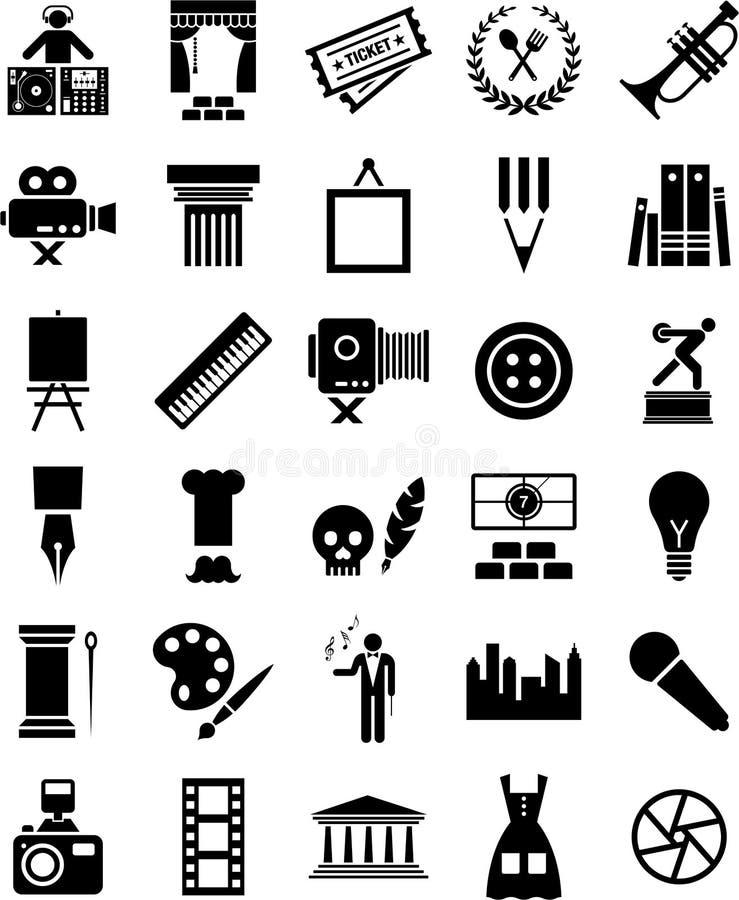 Ícones das artes ilustração stock