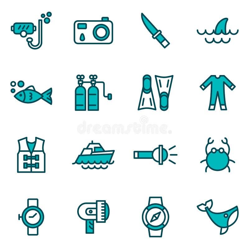 Ícones das atividades do mergulho autônomo e de água ilustração royalty free