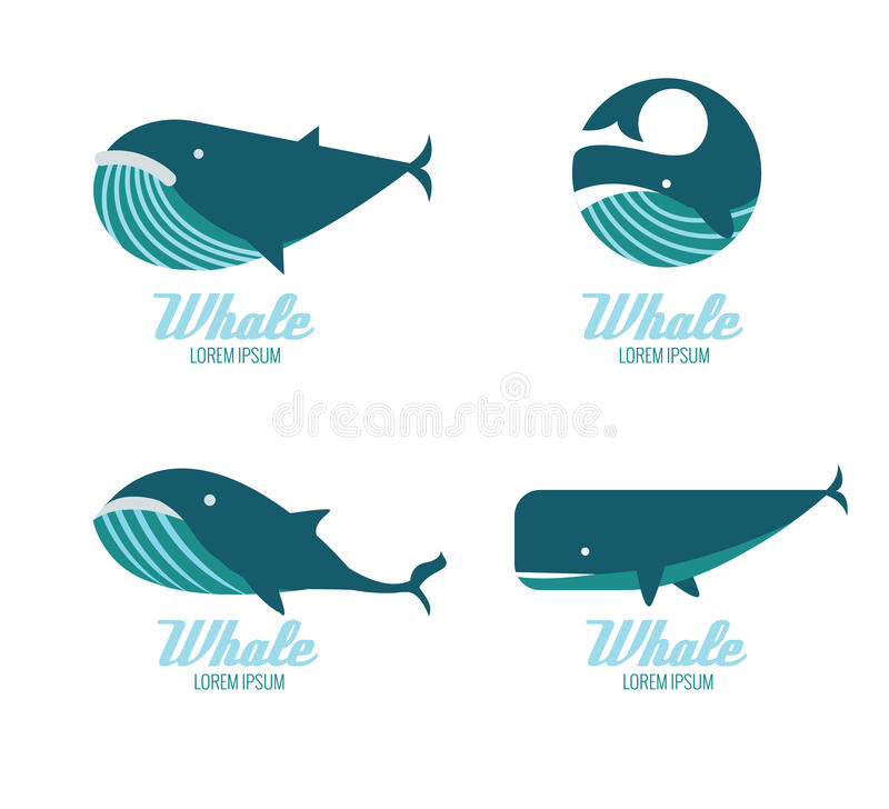 Ícones das baleias ilustração stock