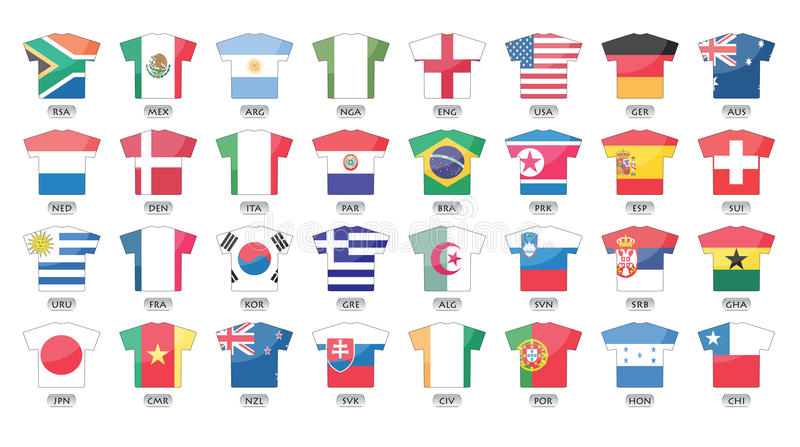 Ícones das bandeiras de países, copo de mundo 2010 ilustração do vetor