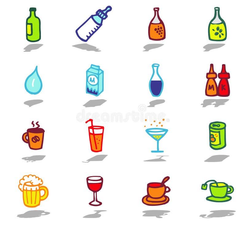 ícones das bebidas ajustados ilustração do vetor