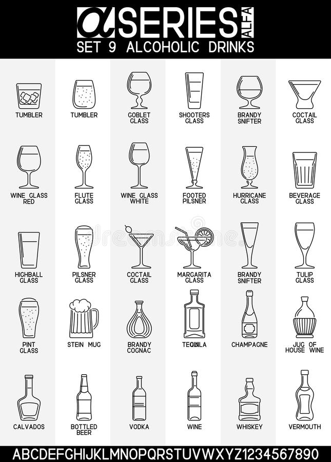 Ícones das bebidas alcoólicas ilustração do vetor