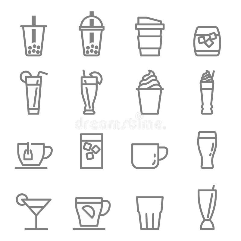 Ícones das bebidas e das bebidas do chá da bolha ilustração stock