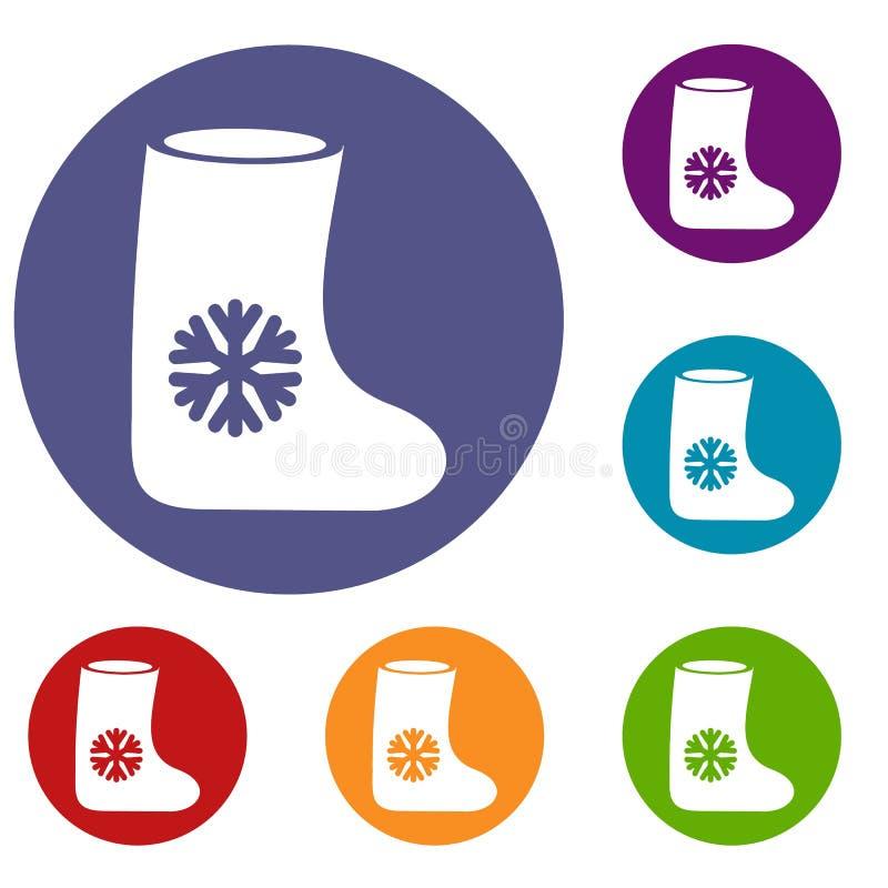Ícones das botas de feltro ajustados ilustração stock