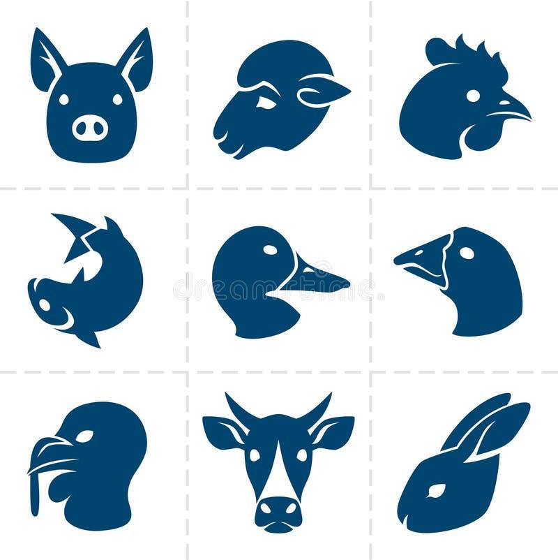 Ícones das carnes ilustração royalty free