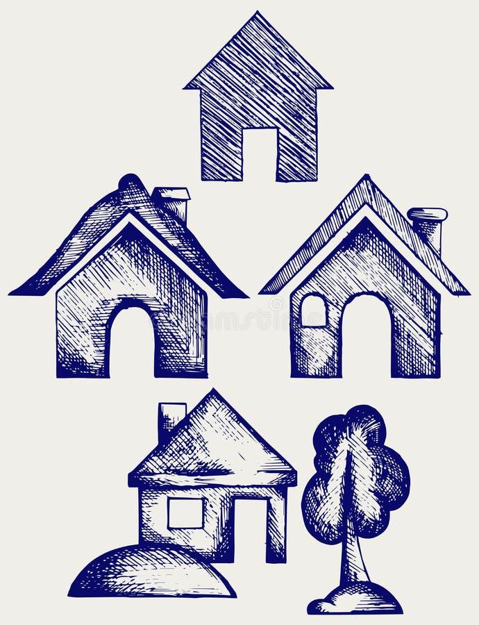 Ícones das casas ajustados ilustração stock