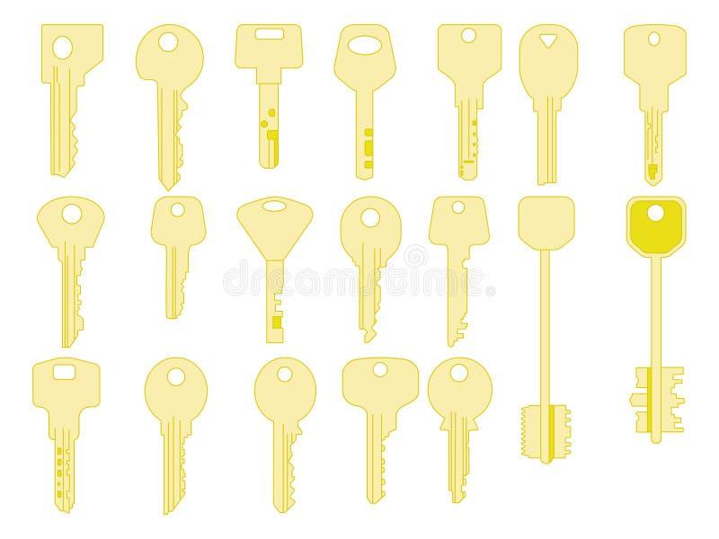 Ícones das chaves ajustados, Portas do fechamento e de abertura O ouro fecha sinais e coleção dos símbolos ilustração do vetor