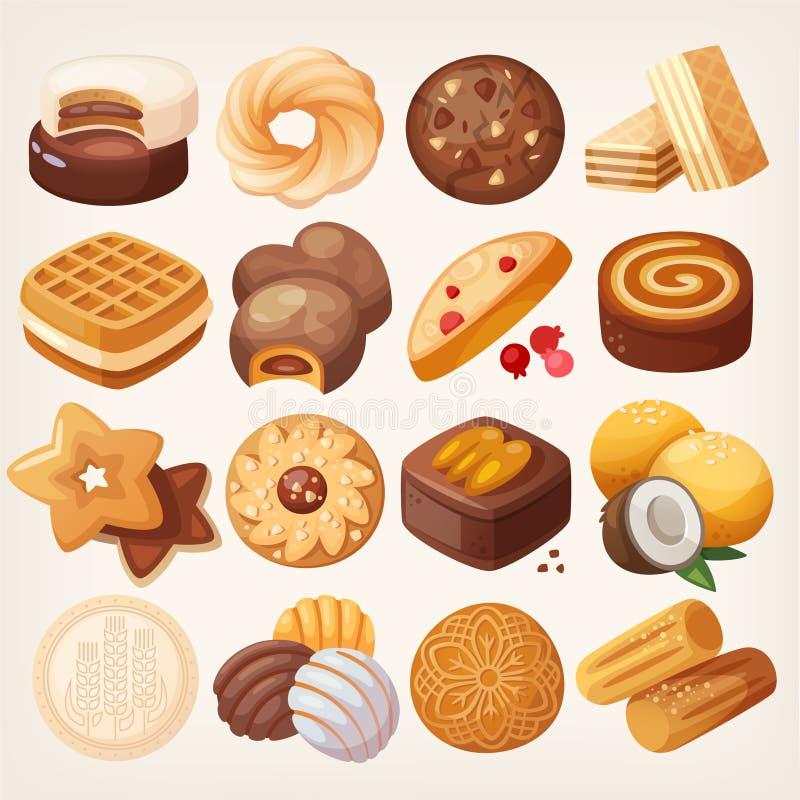 Ícones das cookies e dos biscoitos ajustados ilustração royalty free